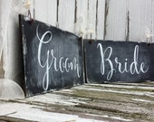 BRIDE and GROOM Chair Signs, Chalk Board Chair Hangers, Chalk Board Chair Signs, Mr and Mrs Chair Signs, Chalkboard Signs, Rustic Wedding