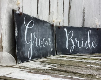 Wedding Chair Signs for the Bride and Groom | Mr and Mrs Wedding Signs | Rustic Wedding Chalkboard Signs | Reversible Signs | Photo Booth