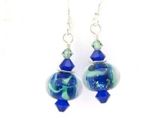 Silver Lampwork Earrings, USA Lampwork Glass Earrings, Cobalt Blue Teal Beads, Sterling Silver, Swarovski Crystals, Dangle Earrings