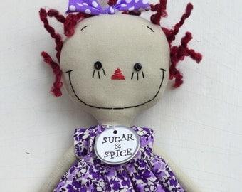 Raggedy Ann handmade cloth rag doll in a purple floral dress