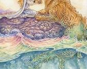 Fantasy art print, Tarot, Strength, Lion, Sea serpent, Nautical, love and compassion, 11x14