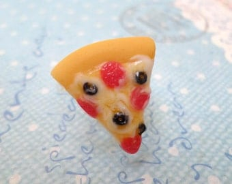 Kawaii Pepperoni and Olives Pizza Slice Ring, Polymer Clay Food Jewelry