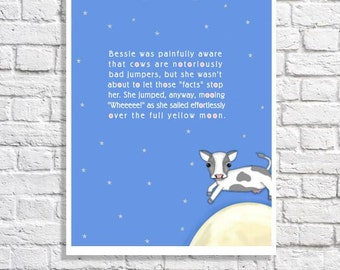 Nursery Rhyme Art The Cow Jumped Over The Moon Baby Boy Room Ideas Girls Nursery Wall Decor Baby Shower Cow Nursery Quote Print Cute Picture