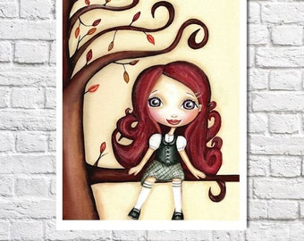 Girls Room Decor Redhead Portrait Big Eyed Art Cute Picture Baby Girl Nursery Illustration Fall Trees Wall Decor Whimsical Autumn Artwork