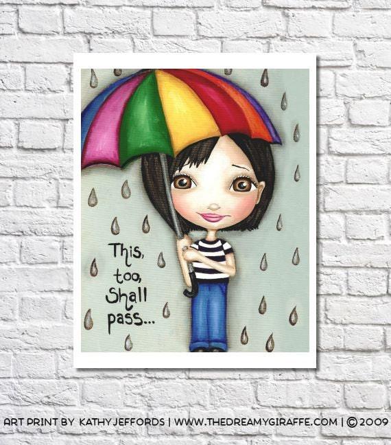 This Too Shall Pass Print Rain Art Rainy Day Print Encouraging Quote Big Eyes Cheer Up Gift Motivational Wall Art Umbrella Decor Office Art