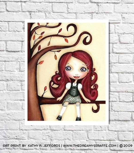 Girls Room Decor Redhead Portrait Big Eyed Art Cute Picture Baby Girl Nursery Illustration Fall Trees Wall Decor Whimsical Autumn Artwork