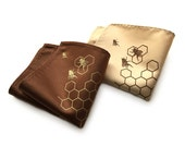Honey Bee pocket square. Bee hive, honeycomb screenprinted men's handkerchief. Your choice of print & fabric color. Beekeeper, apiary gift.