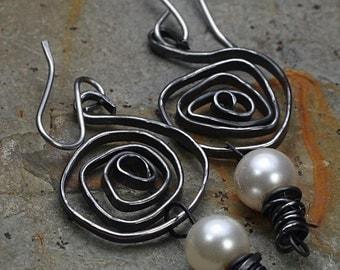 30% Off Pearl Earrings Spiral Earrings Steel Wire Earrings
