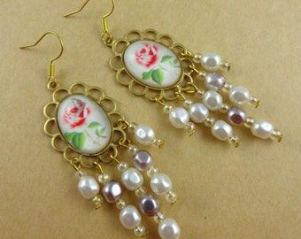 White and Pink Rose, Pearly Chandelier Earrings - old fashioned, vintage style, granny cottage chic, dangly, feminine, retro, summer