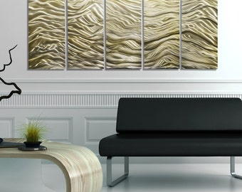 NEW! Gold Modern Metal Wall Art - Contemporary Painting - Painted Metal Accent - Home Decor - Sleek Wall Art - River of Gold by Jon Allen