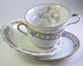 Mismatch Tea Cups and Saucers Plates, Wedding Shower Mad Hatter Tea Party Pink Floral Mixed Pattern China Plates (#PT3)