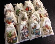 Alice in Wonderland LAVENDER SACHET Party Favors 12 Full Color Designs DELUXE Double Drawstring Affordable Price Dozen Not Stamped