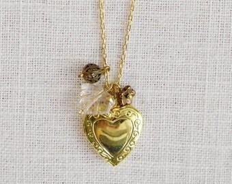 CLEARANCE . crystal leaf (bits and pieces sale) // gold heart necklace . locket charm necklace . flower charm necklace