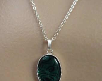 Paua Shell Necklace. Paua Shell Cabochon. Iridescent Necklace. Green Shell Necklace. Silver Chain Necklace