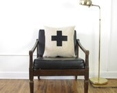 Oatmeal and Black Swiss Cross Decorative Pillow Cover