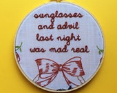 Embroidered Rap Lyrics: No Church In The Wild by Kanye West - In Round Embroidery Hoop
