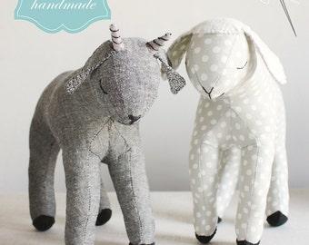 a sewing pattern : sleepy lamb and goat