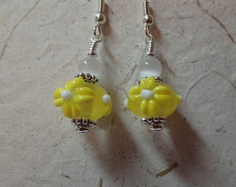 Clear with Yellow and White Floral Glass Earrings on silver