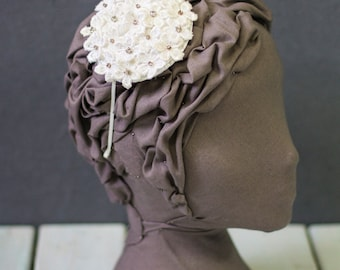 White and Ivory Guipure Daisy Lace Headpiece with Crystal detail