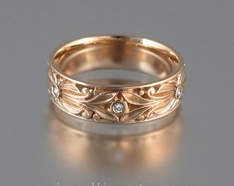 The COUNT 14k rose gold mens wedding band with diamond accents