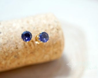 violet field- 5mm iolite gemstone studs. violet studs. purple gemstone silver or gold studs.