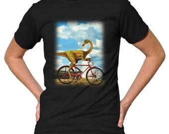 Dinocyclus Rex - Dinosaur on a Bike T-Shirt - Funny Dinosaur TShirt - Mens and Ladies Sizes Small-3X