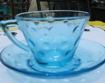 Vintage Hazel Atlas Aqua Blue Glass Capri Coffee / Tea Cup & Saucer aka Aqua Dots