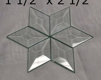 6 pack of 1-1/2 x 2-1/2 DIAMOND Bevels - Clear Memory Glass TINY - BEVELS Flat On Back for Collage Altered Art Soldered Pieces
