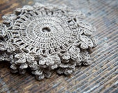 Pure linen hand crocheted coaster -- small doily -- set of 2