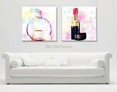 Large Canvas Print Wall Art, Fashion Canvas Giclee, Chanel Perfume Chanel Lipstick Canvas Art, Fashion Wall Decor Large Canvas Set