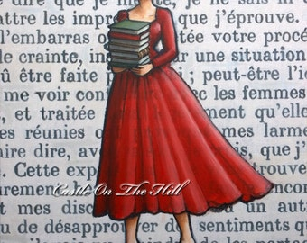 The Book Lover - Paris 1962 - Armfuls Of Books - Large original painting 20 x 28
