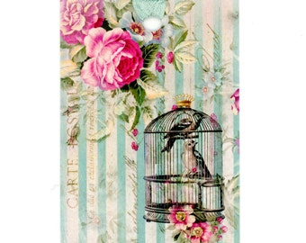 Birdcage Gift Tags , Bird Tags , Rose Tags , Pink and Aqua , Aqua Stripes , Birthday Tags , Shower Tags , Birthday Tags , All Occasion Tags