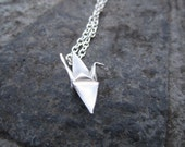 Fine Silver Hand Folded Origami Crane Necklace