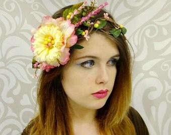 Spring Fairy Flower Crown, Boho Headpiece, Boho Wedding, Rustic, Headdress, Woodland Wedding, Bridal Headpiece, Boho Flower Crown