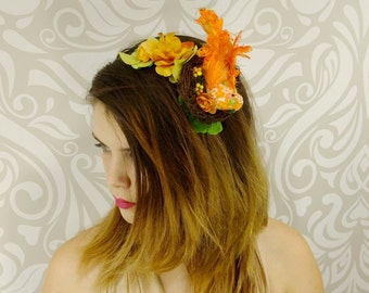 Boho Headband, Orange Bird and Nest Headband, Woodland Headband, Orange Headband, Flower Crown, Headpiece, Unique Hair Accessory, Bridal