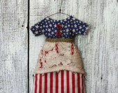 Primitive Americana Doll Dress Ornie, Home Decor, Patriotic Dress, 4th of July, Stars and Stripes