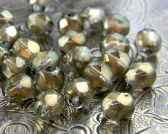 Linen Shimmer (25) -Czech Glass Faceted Rounds 6mm