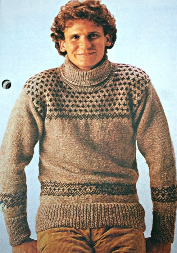 Sweater Knitting Pattern Turtleneck Men Fair Isle Sizes 36