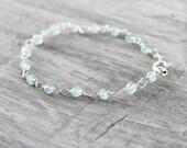 Light Aqua Bracelet, Aqua Gemstone Bracelet, Sterling Silver Bracelet, Wire Wrap Bracelet, Light Blue Bracelet, Blue Gemstone Bracelet