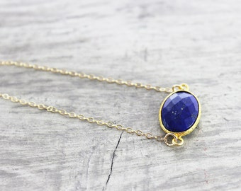 Lapis Lazuli Necklace, Gemstone Bezel Necklace, Blue Gemstone Necklace, Dark Blue Necklace, Pendant Necklace, Gold Fill Necklace, Delicate