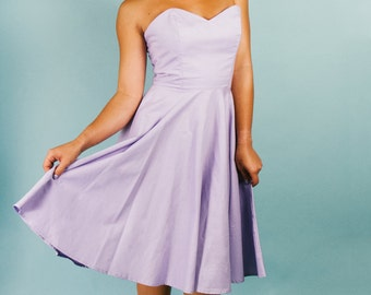 "Sweetheart Floral ""Hey Jenni"" pastel Lilac Purple Knee Length Dress with Full Circle Skirt Strapless Size 4 Sample Sale Clearance"