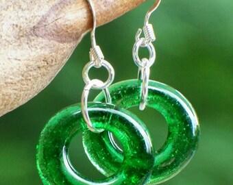 Recycled Vintage Emerald Beer Bottle Glass Hoop Earrings