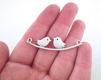 Birds on a branch silver pendant connectors,  pick your amount, D229