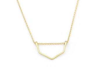 Gold Chevron necklace - geometric necklace - minimalist gold necklace - v necklace - gold filled necklace - delicate chain - Geo Chevron