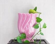 Vintage Brush McCoy Pottery Vase - Rose Pink Tulip Flower Pedestal Square Footed