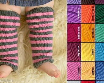 Knit Baby Legwarmers, Baby Leggins, Baby Leggings, Knit Baby Leggings, Baby Photo Prop, Leg Warmies, Striped Leggings, Choose Your Colors