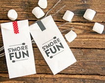 S'mores bag  - S'moreFun - Kids, party, campfire favor -  25 Tall White Bags (only)