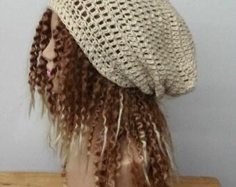 Slouchy beanie, natural cream hemp wool hat, slouch beanie hat, dreadlock hippie tam hat handmade in crochet