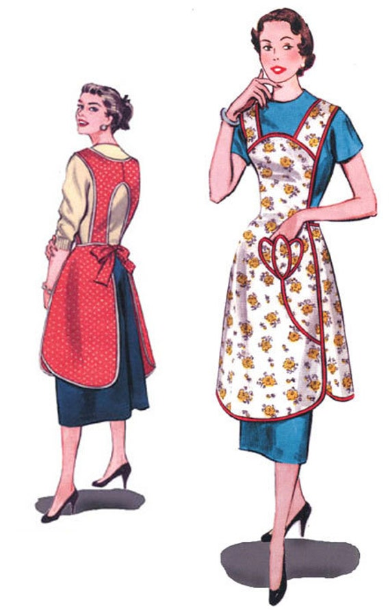 Vintage Aprons, Retro Aprons, Old Fashioned Aprons & Patterns 1950s Protect and Serve Apron || Decades of Style $15.00 AT vintagedancer.com