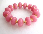 Little Luxe Simple Stacking Stretch Bracelet in AAA Argentinian Rose Quartz, Gold Vermeil...